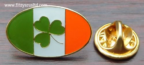 Oval Ireland Flag & Shamrock Lapel Hat Cap Tie Pin Badge / Brooch Irish Republic